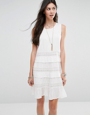 photo Tiered Dress with Crochet Inserts by Diya, color White - Image 1