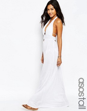 photo Jersey Ruched Halter Maxi Beach Dress by ASOS TALL, color White - Image 1