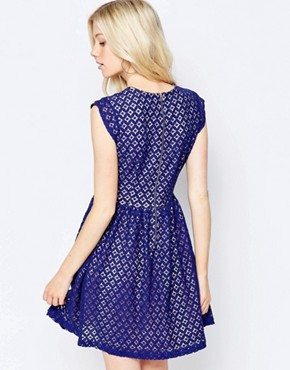 photo Skater Dress in Lace by Sugarhill Boutique, color Blue - Image 2