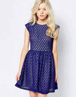 photo Skater Dress in Lace by Sugarhill Boutique, color Blue - Image 1