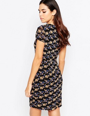 photo Odette Shift Dress in Floral Print by Poppy Lux, color Black/Multi - Image 2