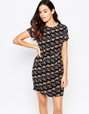 photo Odette Shift Dress in Floral Print by Poppy Lux, color Black/Multi - Image 1