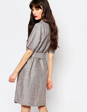 photo Genova Wrap Shirt Dress by Just Female, color Anthracite Melange - Image 2