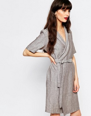 photo Genova Wrap Shirt Dress by Just Female, color Anthracite Melange - Image 1