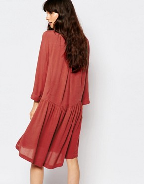 photo Canyon Smock Dress with Tie Front by Just Female, color Marsala Red - Image 2