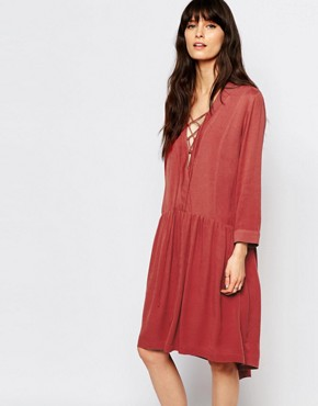 photo Canyon Smock Dress with Tie Front by Just Female, color Marsala Red - Image 1