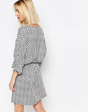 photo Shary Belted Dress in Print by Just Female, color White/Black - Image 2