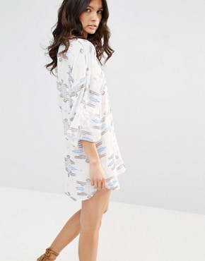 photo Delilah Embroidered Tie Dress by Flynn Skye, color Multi - Image 2