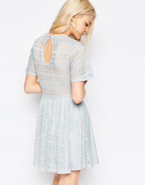 photo Skater Dress with Lace Back and Keyhole by ASOS, color Soft Grey - Image 2
