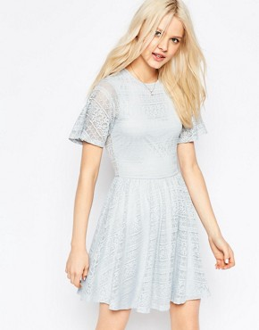 photo Skater Dress with Lace Back and Keyhole by ASOS, color Soft Grey - Image 1