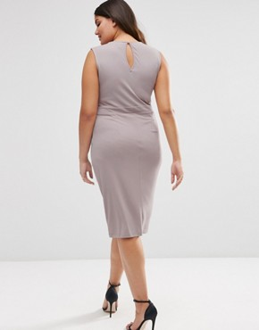 photo Midi Dress with Drape Side by ASOS CURVE, color Mink - Image 2