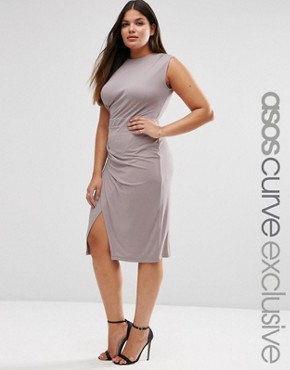 photo Midi Dress with Drape Side by ASOS CURVE, color Mink - Image 1