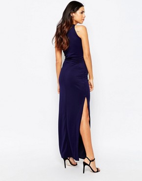 photo Chain Front Side Split Maxi Dress by Rare, color Navy - Image 2