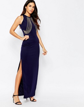 photo Chain Front Side Split Maxi Dress by Rare, color Navy - Image 1