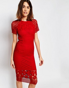photo Lace Pencil Dress by Warehouse Premium, color Red - Image 1