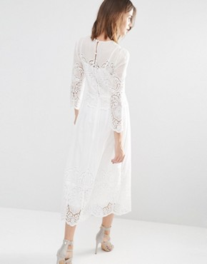 photo Embroidered Midi Dress by Warehouse Premium, color Ivory - Image 2