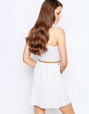 photo Belted Skater Dress by Girls on Film, color White - Image 2