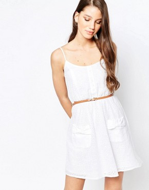 photo Belted Skater Dress by Girls on Film, color White - Image 1