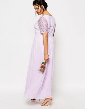 photo Chiffon Embellished Maxi Dress by Lovedrobe Luxe, color Purple - Image 2