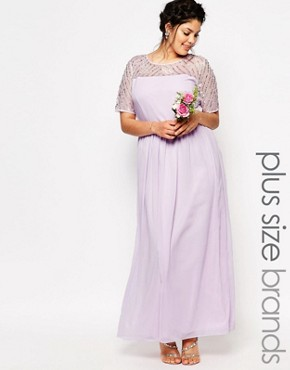 photo Chiffon Embellished Maxi Dress by Lovedrobe Luxe, color Purple - Image 1