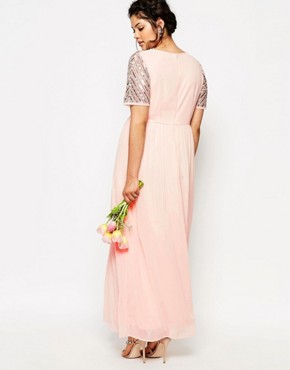 photo Chiffon Embellished Maxi Dress by Lovedrobe Luxe, color Pink - Image 2
