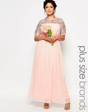 photo Chiffon Embellished Maxi Dress by Lovedrobe Luxe, color Pink - Image 1