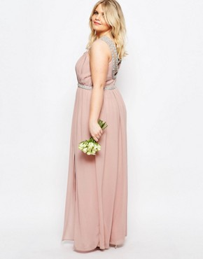 photo Multi Row Embellished Maxi Dress by TFNC Plus WEDDING, color Pink - Image 2