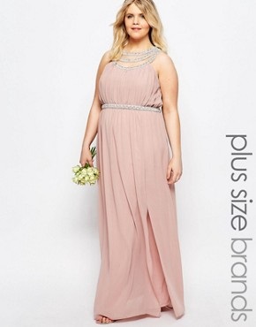 photo Multi Row Embellished Maxi Dress by TFNC Plus WEDDING, color Pink - Image 1
