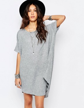 photo Knitted Slouchy T-Shirt Dress in Rib by Stitch & Pieces, color Grey Marl - Image 1