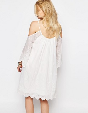 photo All Over Crochet Lace Cold Shoulder Mini Dress by White Cove Petite, color White - Image 2