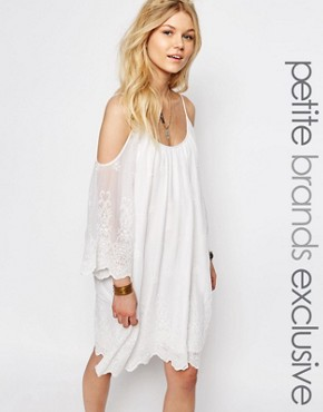 photo All Over Crochet Lace Cold Shoulder Mini Dress by White Cove Petite, color White - Image 1