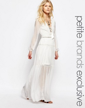 photo All Over Scalloped Lace Frill Tiered Maxi Dress by White Cove Petite, color Cream - Image 1