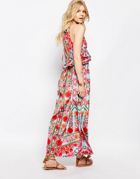 photo Frill Layered Maxi Dress in Aztec Floral by White Cove Petite, color Multi - Image 2