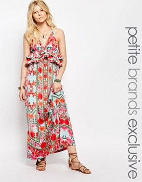 photo Frill Layered Maxi Dress in Aztec Floral by White Cove Petite, color Multi - Image 1