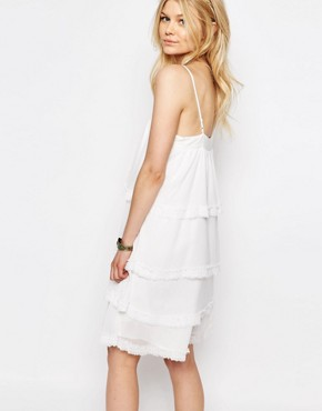 photo Tiered Cami Strap Mini Dress by White Cove Petite, color Cream - Image 2