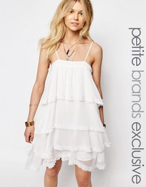 photo Tiered Cami Strap Mini Dress by White Cove Petite, color Cream - Image 1