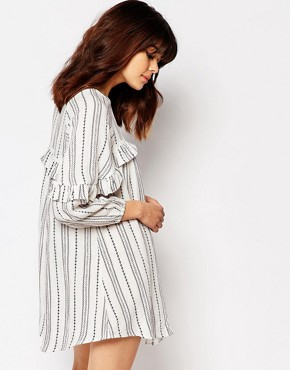 photo Smock Dress with Ruffle Trims in Spotted Stripe by I Love Friday, color White - Image 2