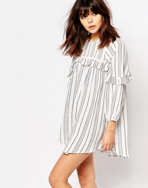 photo Smock Dress with Ruffle Trims in Spotted Stripe by I Love Friday, color White - Image 1