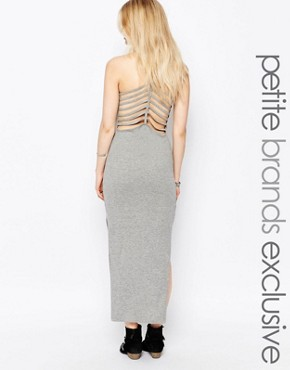 photo Ladder Back Maxi Dress by Noisy May Petite, color Grey Marl - Image 1