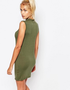 photo Bodycon Sleeveless Tank Dress with Feeling Beachy Print by Adolescent Clothing, color Khaki - Image 2