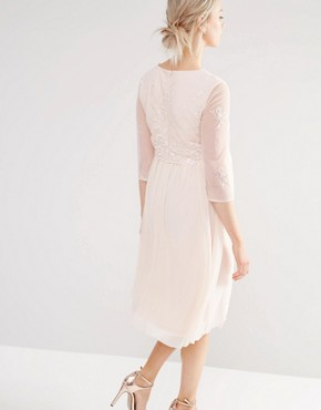 photo Prom with FloralSequin Mesh Bodice by Little Mistress Maternity, color Pink - Image 2