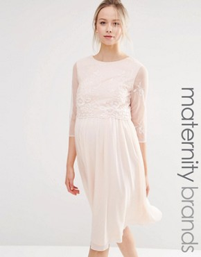 photo Prom with FloralSequin Mesh Bodice by Little Mistress Maternity, color Pink - Image 1