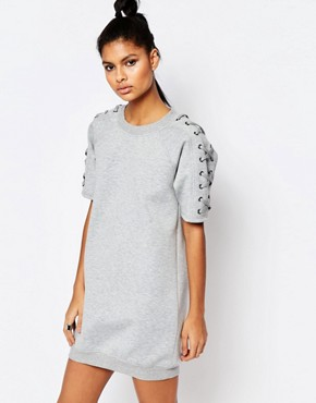 photo Oversized Short Sleeve Sweat Dress in Neoprene with Lace Up Detail by Story Of Lola, color Grey Marl - Image 1