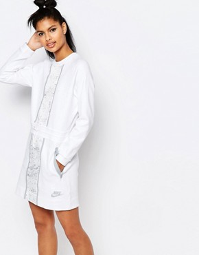 photo Luxury Long Sleeve Dress with Splatter Print by Nike, color Off White - Image 1