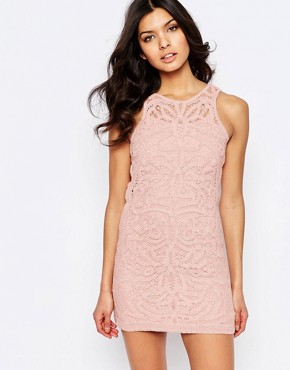 photo Monticello Lace Mini Dress by Foxiedox, color Pink - Image 1
