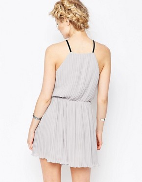 photo Eyelet Trim Chiffon Cami Dress by True Decadence Petite, color Grey - Image 2