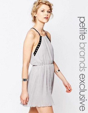 photo Eyelet Trim Chiffon Cami Dress by True Decadence Petite, color Grey - Image 1