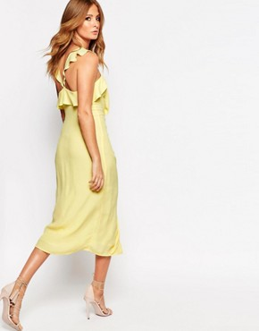 photo Midi Dress with Ruffle Front and Buttons by Millie Mackintosh, color Lemon - Image 2