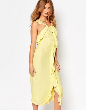 photo Midi Dress with Ruffle Front and Buttons by Millie Mackintosh, color Lemon - Image 1