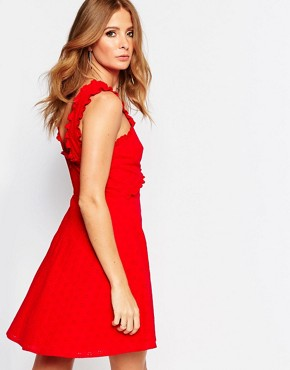photo Mini Dress with Wrap Front Detail in Broderie Anglaise by Millie Mackintosh, color Red - Image 2
